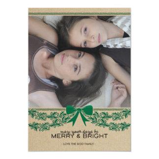"Rustic Green Bow & Garland Holiday Photo Card 5"" X 7"" Invitation Card"
