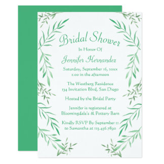Rustic Green Bridal Shower Leaves Ferns Leaf Card
