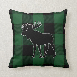 Rustic Green Buffalo Check | Moose Animal Cushion