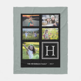 Rustic green burlap family monogram photo collage fleece blanket