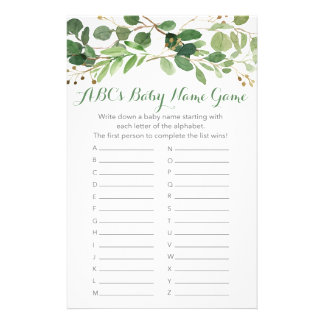 Rustic Green Floral ABC Baby Name Game Flyer