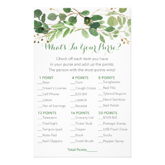 Rustic Green Floral What's In Your Purse Game Flyer