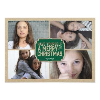 Rustic Green Frame Holiday Photo Card 13 Cm X 18 Cm Invitation Card