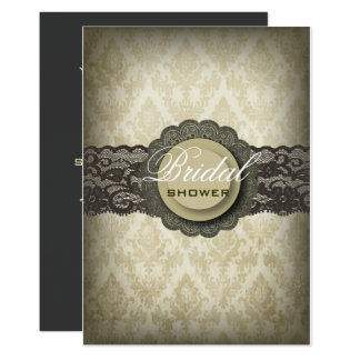 Rustic Green Lace Western Country Bridal Shower Card