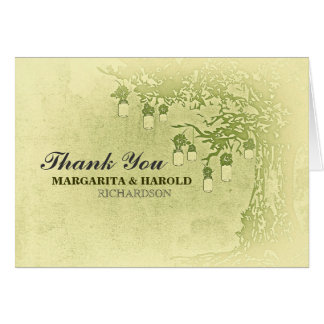 Rustic green mason jars tree thank you cards