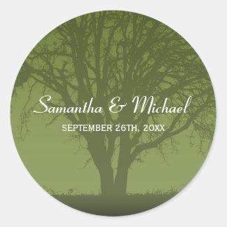 Rustic Green Oak Tree Wedding Favor Label Round Sticker