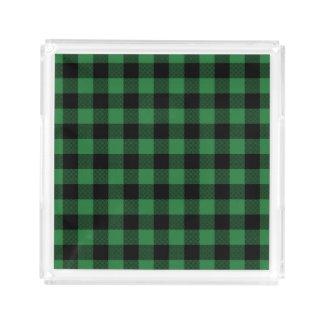 Rustic Green Plaid Pattern Holiday Acrylic Tray