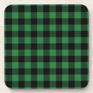 Rustic Green Plaid Pattern Holiday Coaster