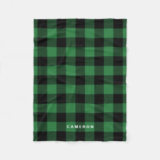 Rustic Green Plaid Pattern Holiday Personalized Fleece Blanket