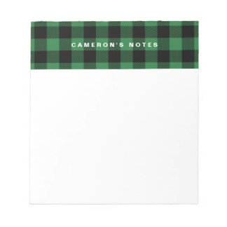 Rustic Green Plaid Pattern Personalized Notepad