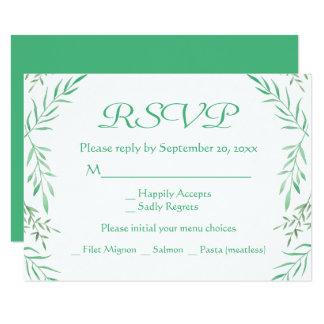 Rustic Green RSVP Watercolor Leaves Ferns Leaf Card