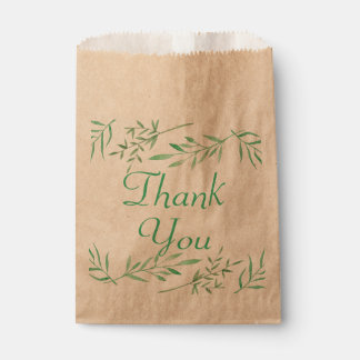 Rustic Green Thank You Watercolor Laurel Leaf Favour Bag