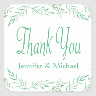 Rustic Green Thank You Watercolor Leaves, Ferns Square Sticker