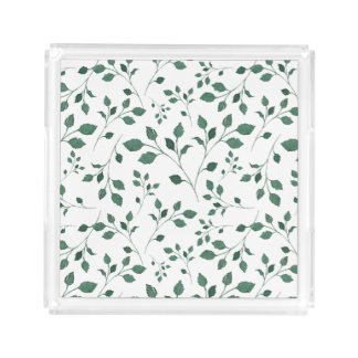 Rustic Green Watercolor Foliage Pattern Acrylic Tray
