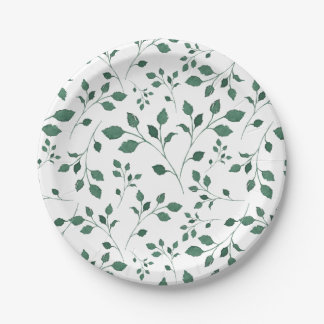 Rustic Green Watercolor Foliage Pattern Paper Plate