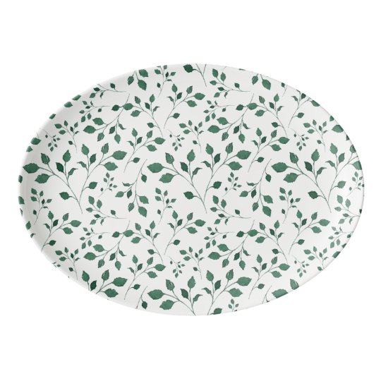 Rustic Green Watercolor Foliage Pattern Porcelain Serving Platter