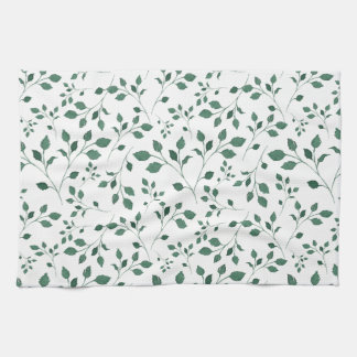 Rustic Green Watercolor Foliage Pattern Tea Towel