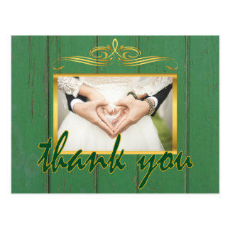 Rustic Green Wood Thank You Gold Frame Photo Postcard