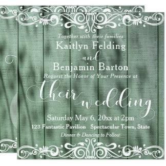 Rustic Green Wood White Scrollwork Wedding 2b Card