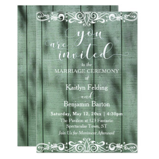 Rustic Green Wood White Scrollwork Wedding Card