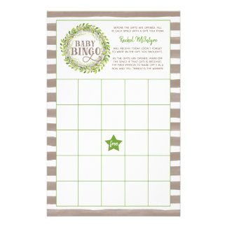 Rustic Green Wreath Baby Shower Game Baby Bingo Stationery