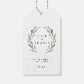 Rustic Green Wreath Elegant Wedding Thank You Gift Tags