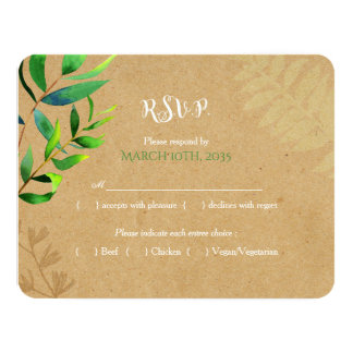 Rustic Greenery Wedding RSVP Card