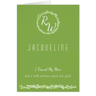 Rustic Greenery | Wedding Vine Green Bridesmaid Card