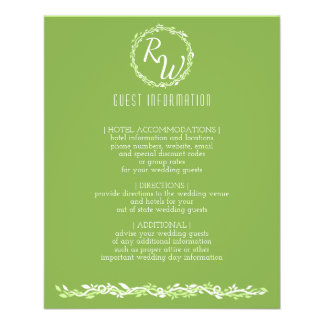 Rustic Greenery | Wedding Vine Guest Information Flyer