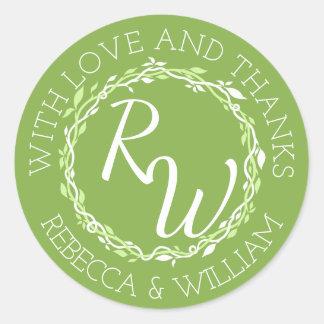 Rustic Greenery   Wedding Vine Thank You Favor Classic Round Sticker