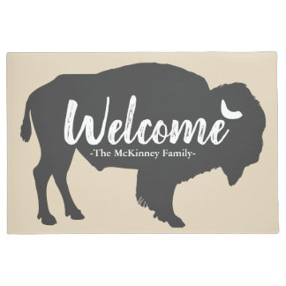 Rustic Grey Buffalo Bison & Family Name Welcome Doormat