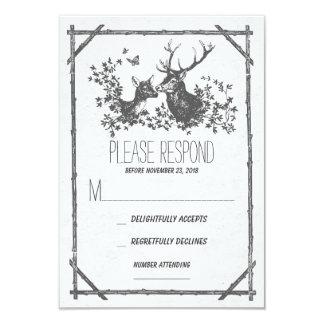 Rustic grey deer wedding RSVP cards 9 Cm X 13 Cm Invitation Card