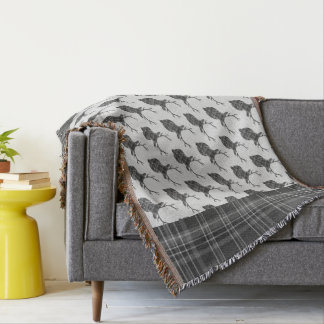Rustic Grey Scottish Tartan Stags Head Antler Throw Blanket