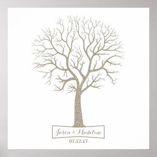 Rustic Grey Tan Tree Thumbprint Wedding Guestbook Poster