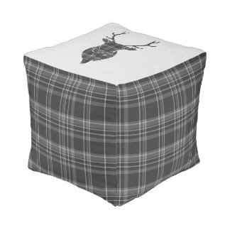 Rustic Grey Tartan And Stag Head Antler Pouf
