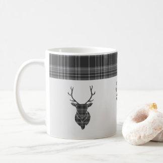 Rustic Grey Tartan Pattern And Stag Head Antler Coffee Mug