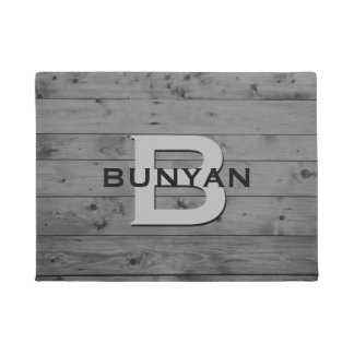 Rustic Grey Wood Pattern Family Name Monogram Doormat