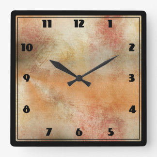 Rustic Grunge Abstract Design in Fall Colors Square Wall Clock