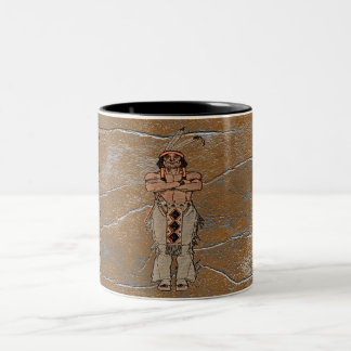 Rustic Grunge Big Chief Indian Coffee Cup Two-Tone Mug