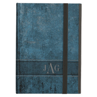 Rustic Grunge Blue Book Design iPad Air Cover