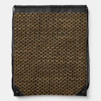 Rustic Grunge Burlap Texture Drawstring Backpacks