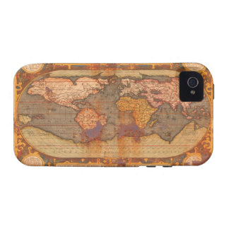 Rustic Grunge Old Style World Map iPhone 4 Case