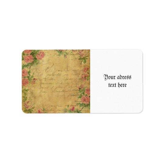 Rustic,grunge,paper,vintage,floral,text,roses,rose Address Label