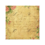 Rustic,grunge,paper,vintage,floral,text,roses,rose Stretched Canvas Print