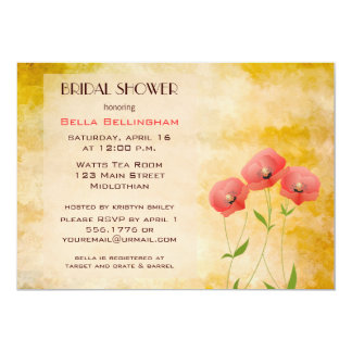 Rustic Grunge Poppies Bridal Shower Invitation