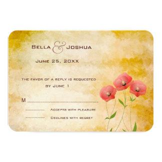 Rustic Grunge Poppies RSVP 9 Cm X 13 Cm Invitation Card