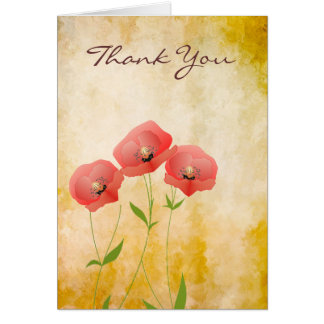 Rustic Grunge Poppies Thank You Note Greeting Cards