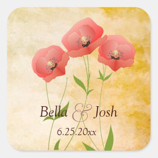 Rustic Grunge Poppies Wedding Sticker