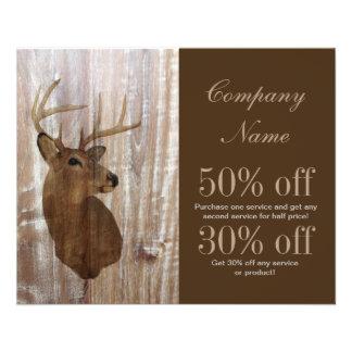 rustic grunge vintage wood grain hunter buck deer flyer