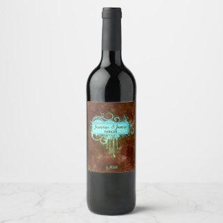 Rustic Grunge Wedding Glitter Frame Tag Wine Label